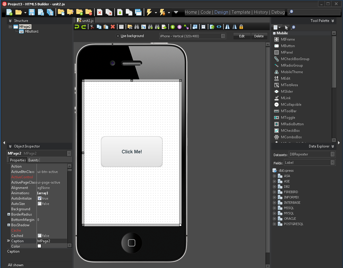 Phonegap build in html5 builder community blogs embarcadero put a mbutton on form add some code for onclick event for example function mbutton1clickevent alerthello maxwellsz