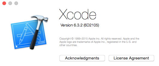 Xcode 6.3.2 about box