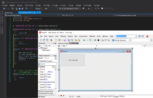 Use the DLL created by Visual C++2017 with C++Builder(Win64).