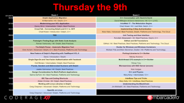 CodeRage XII Day 3 Schedule Update