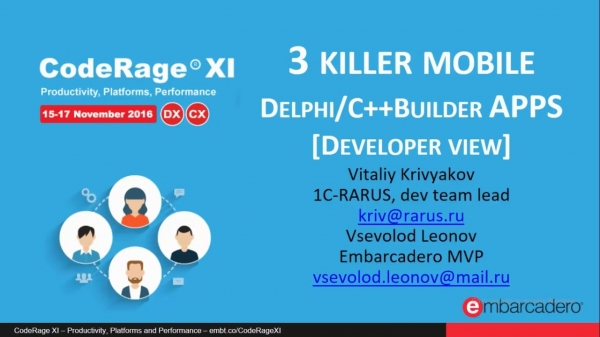 3 mobile killer Delphi & C++Builder apps, developer view with Vsevolod Leonov