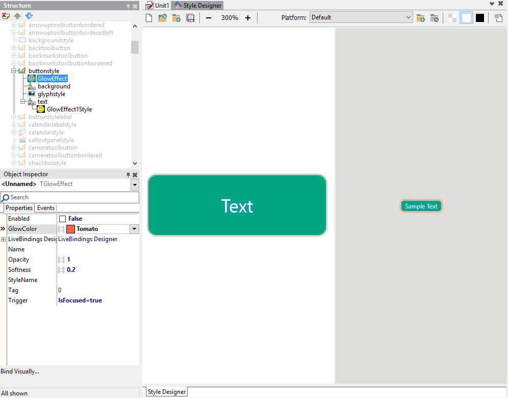 Customizing the style for a user interface control in RAD
