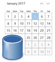 Making Win10 Calendar controls database-aware