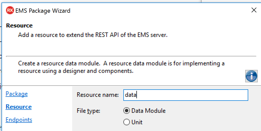 rad server ems package to get data from a remote database
